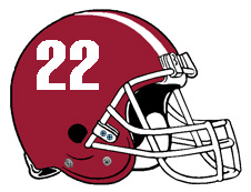 Crimson Number 22 Football Helmet Fantasy Logo