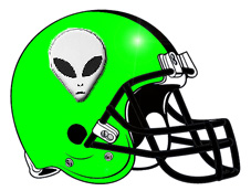 Green Alien Head Fantasy Football Helmet