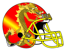 Oriental Dragon Fantasy Football Helmet