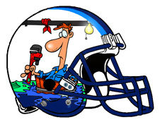 Flooded Room Plumber Fantasy Football Helmet