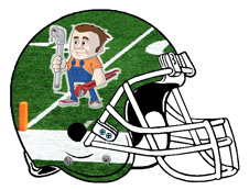 Plumber on Football Field Fantasy Logo