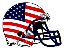 American Flag Patriotic Football Helmet Fantasy Logo