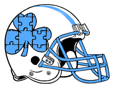 Blue Shamrock Puzzle Fantasy Football Helmet