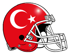 Turkish Flag Logo Fantasy Football Helmet