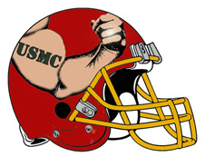 USMC Tattoo Arm Flexing Fantasy Football Helmet