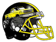 Yellow Monster Truck Fantasy Football Helmet