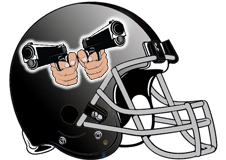 Two Handguns Fantasy Football Helmet Logo